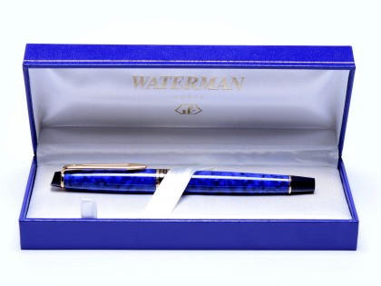 Rare NOS 1998 Waterman EXPERT II Lapis Blue Marble & Gold F Fine Nib Fountain Pen In Box
