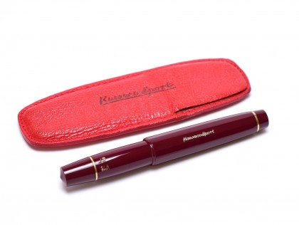 Rare Burgundy Maroon Red Pocket Size KAWECO Sport V16 EF 14K Gold Nib Fountain Pen in Red Leather Pouch
