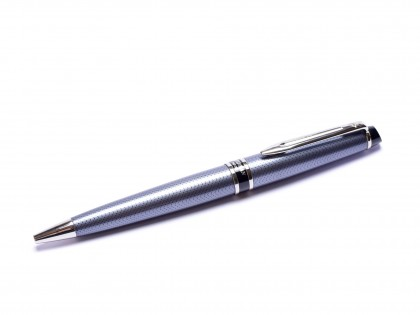 "Rare Waterman EXPERT II City Line Urban Grey ""Herringbone Stitching Pattern"" Ballpoint Pen Made in France"