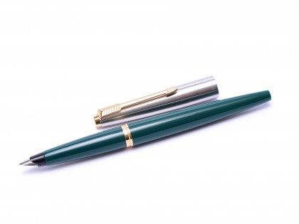 1960s Made in USA PARKER 45 Teal Green & Brushed Steel F Nib Fountain Pen with Bladder Converter