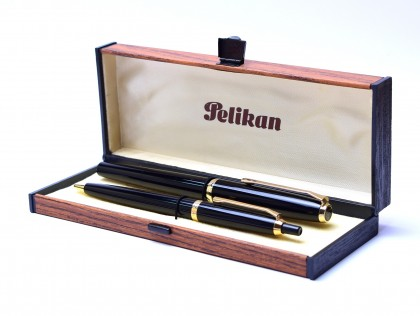 Rarest 1969 Pelikan PK30 & DK30 Rolled Gold & Black Resin 14K F Clear Face Nib Fountain & Ballpoint Pen Set In Box