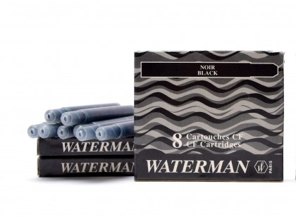 Vintage NOS (For Older Waterman Pens) WATERMAN Specific CF Style Original Made in France NOIR BLACK Fountain Pen Ink Cartridges Refills - Pack of 8