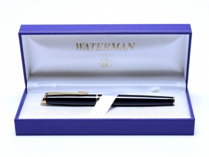 1990s Waterman Hemisphere France Black Lacquer & Gold Cartridge/Converter GP Fine Nib Fountain Pen In Box