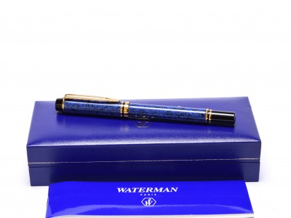 Stunning 1990 Waterman Ideal Le Man 200 Rhapsody Lapis Blue Ripple/Marble Fountain Pen OB Oblique Broad (OG) 18K 750 Gold Nib
