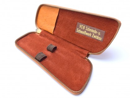 Vintage Unique High Quality Genuine Light Brown Leather Pouch Case for 2 Fountain / Ballpoint Pens