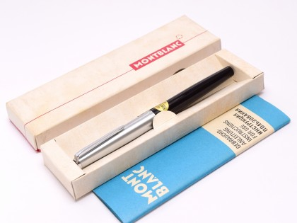 NOS 1960s MONTBLANC Monte Rosa 402 SG Flexible 14K Nib EF to BB Black Resin & Steel Slip On Cap Piston Fountain Pen in Box