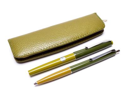 Rare Laurin Green M Medium Steel Nib Cartridge/ Converter Fountain & Ballpoint Pen Set in Pouch w/ Converter