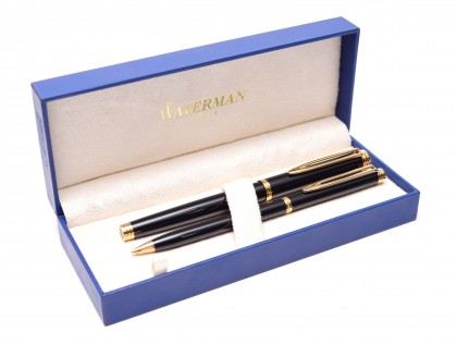 1990s WATERMAN Ideal Gentleman Black Lacquer & Gold 18K F Flex Nib Fountain Pen & Slimline 0.7mm Leads Mechanical Pencil Set in Box