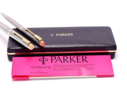 1960s PARKER 75 Made in USA Solid 925 Sterling Silver Crosshatch Cisele Fountain Pen & Mechanical Pencil Set