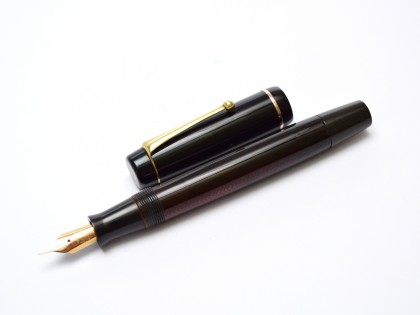 1930s Danish PENOL President No.8 Transparent Amber Celluloid with Herringbone Pattern 14K F Flexible Nib Push Button Bladder/Sack Filling Fountain Pen