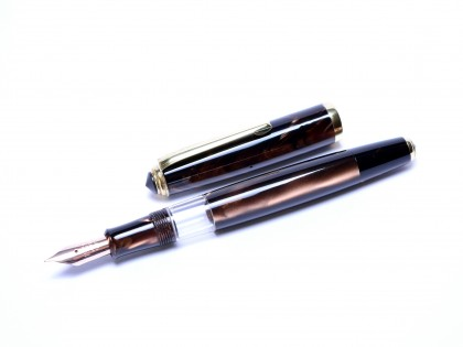 1960s Celluloid Deep Pearl Brown CENTROPEN Super Flexible F to 3B 14K Nib Piston Fountain Pen
