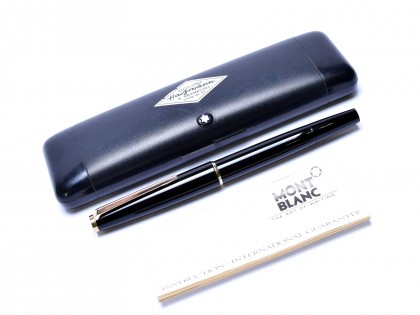 Stunning 1960s MONTBLANC No. 320 Black Resin & Gold Fountain Pen with Rare Oblique Double Broad OBB 14K Nib