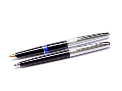 Pelikan 20 Silvexa Black Resin & Chrome Solid Gold 14K 585 Semi Flex F Nib Cartridge Fountain & Ballpoint Pen Set