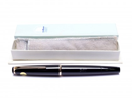 NOS Large 1960s Black Resin MONTBLANC No. 24 14K 585 Gold EF Extra Fine Nib Piston Fountain Pen made for B&W in Box