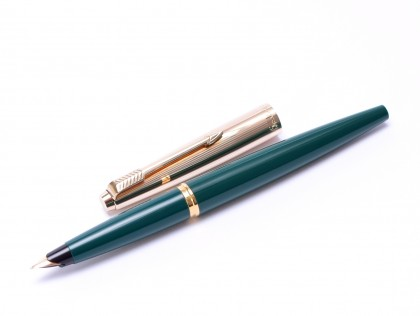 "1960s Made in England PARKER 45 ""Deluxe"" Dark Olive Green & 14K Rolled Gold Cap with 14K Gold F Semi Flex Nib Fountain Pen"