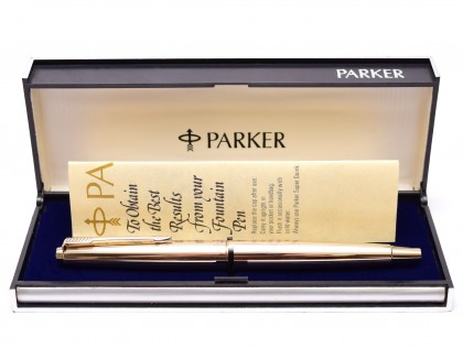 "NOS 1960s Made in England PARKER 45 ""Deluxe"" All Rolled Gold 14K Gold F Flexible Nib Fountain Pen in Box"