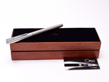 Rare OMAS EGO Rinascimento Renaissance 925 Sterling Silver 14K F to BB Flexible Nib Cartridge/Converter Fountain Pen in Box