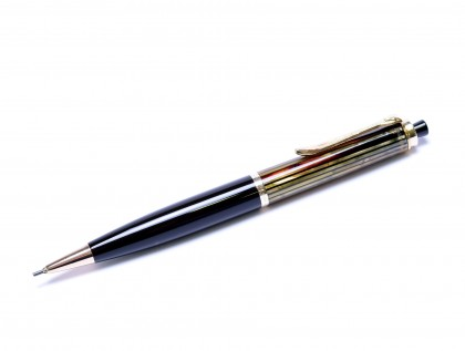 Rare 1950s Thick Pelikan 450 Tortoise Brown Striped & Gold Filled Trims Repeater Mechanical Pencil 1.18mm Lead