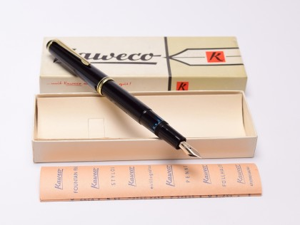 NOS in Box 1960s KAWECO 37G/37 Oversize Black Resin Masterpiece Fully Flexible 14K Gold Nib EF to 3B Fountain Pen