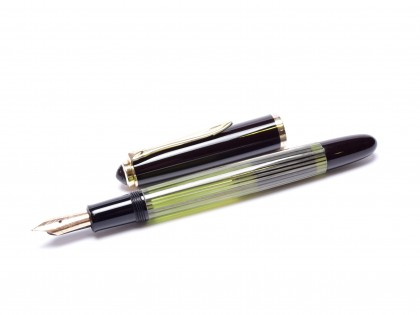 Extremely Rare 1956-58 Fully Transparent Pelikan 400NN (400) Flexible F to 3B 14K Nib Light Tortoise Green-Grey-Brown Striped Gunther Wagner Fountain Pen