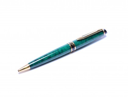 Made in France 1998 Waterman EXPERT II Prussian Emerald Green Marble & Gold Ballpoint Pen