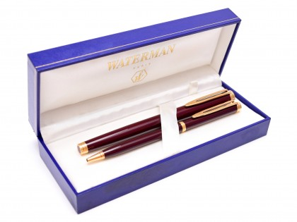 1990s WATERMAN Gentleman Dark Bordeaux Maroon Red Brown Lacquer & Gold 18K M Nib Fountain & Slimline Ballpoint Pen Set in Box