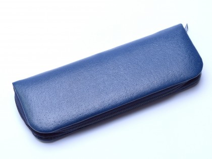 Vintage High Quality Genuine Blue Leather Pouch Case for 2 Fountain / Ballpoint Pens