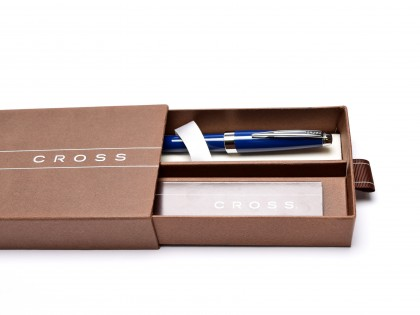 Cross Aventura Dark Starry Blue Stainless Steel M Medium Nib Converter/ Cartridges Fountain Pen in Box + 2 Cartridges