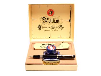 M150/481 1980s West W. Germany Classic Pelikan M150 Black Resin EF Extra Fine Flexible Nib Piston Fountain Pen + Ink Bottle in Box