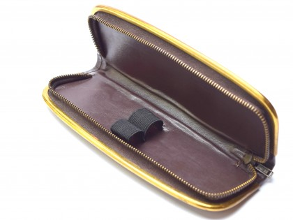Vintage High Quality Genuine Brown Leather Steel Gold Plate Frame Pouch Case for 2 Fountain / Ballpoint Pens