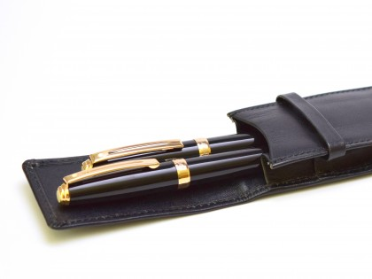 Unique 1999 Sheaffer Prelude Black Lacquer & Gold Fountain & Rollerball Pen Set in Leather Pouch Made for NATO's 50th Anniversary Summit