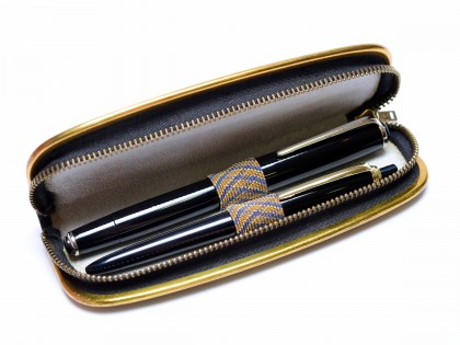 1960s East Germany OVERSIZE GARANT ALKOR M Semi Flex Nib Fountain Pen & Jrgos Ballpoint Pen Set In Leather Pouch