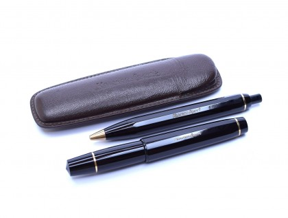 Original 1960's 12 Sided Black Resin KAWECO SPORT V16 EF & 619 Fountain & Ballpoint Pen Set in Leather Pouch