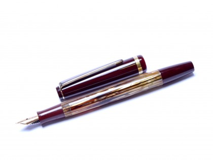 Beautiful TOZ Penkala Croatia MIRNA Tortoise Brown Shell & Burgundy Maroon Red Piston Fountain Pen With Super Flexible F to 3B 14K Nib