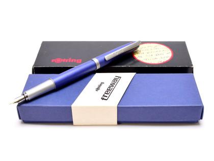 New NOS 2000s Rotring Freeway Blue Aluminium Body Matte Satin Finish M Medium Nib Fountain Pen In Box