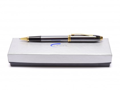 CROSS Townsend Titanium & Gold  Rollerball Pen in Box Made in USA in Box