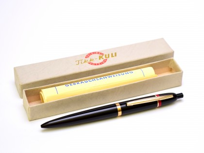 Vintage 1950s Rotring TIKK-KULI Germany Hard Rubber 7 Gold Push Button Ballpoint Pen In Box