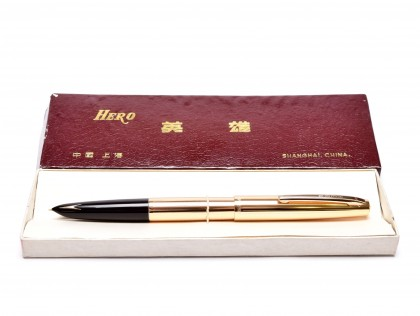 Hero 340 Arrow Aerometric Fountain Pen Gold Plated F Fine Hooded Nib in Box