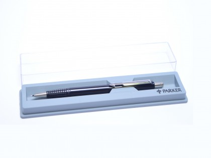 The Original 1984 NOS PARKER Vector Made in UK Classic Black, Chrome & Matte Steel 0.5mm Mechanical Pencil in Box