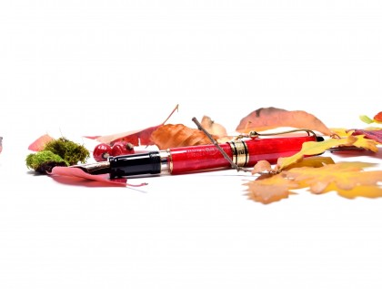 1994 Limited Edition Coral/Marble 1858/7500 Red Aurora Optima 75 Year Anniversary Edition 18K M Nib Fountain Pen