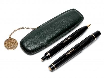 Munich Olympics 12 Sided Black Resin KAWECO Sport V16 & 619 Flex EF Fountain & Ballpoint Pen Set in Leather Pouch