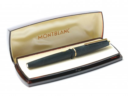 NOS 1960's MONTBLANC No. 220 Fountain Pen Matte Brushed 14K Gold OB Oblique Broad large Nib