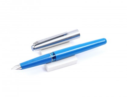 1973 4th Generation Pelikan Pelikano P460 Blue & Steel Cap EF Steel Nib Cartridge Fountain Pen