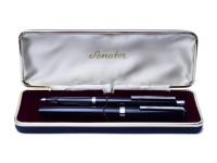Senator 140 Black Resin Fountain Pen & Ballpoint Pen Set in Box