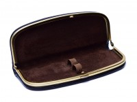 Genuine black brown leather pouch for two fountain ballpoint pens