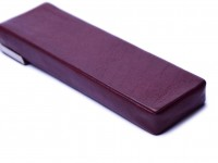 One of a Kind Unique Vintage Dark Thick Genuine Burgundy Red Leather with Steel Frame Fountain Ballpoint Pen Case Pouch