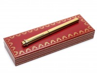 Les Must De CARTIER Vendome Crosshatch Cisele Trinity Ring 18K Gold Nib Fountain Pen