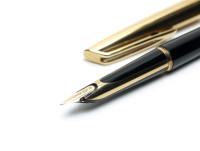 1957 Waterman C/F (CF) Gold Filled & Black Resin - First Cartridge 18K Gold F Semi-Flexible Nib Fountain Pen