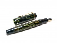 1930s Montblanc No.326 Spain/Spanish Tiger Eye Striped Green Striped Push Button 334 1/2 EF Gold Nib Art Deco Fountain Pen