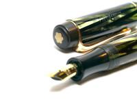 1930s Montblanc No.326 Spain/Spanish Tiger Eye Striped Green Striped Push Button 334 1/2 EF Gold Nib Art Deco Fountain Pen